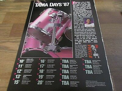 Tama Drums - Tama Days - Billy Cobham 1987 Magazine Print Ad