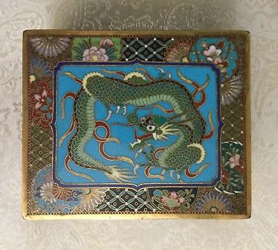 Finely detailed Meiji Japanese Cloisonne wired enameled dragon hinged lidded box