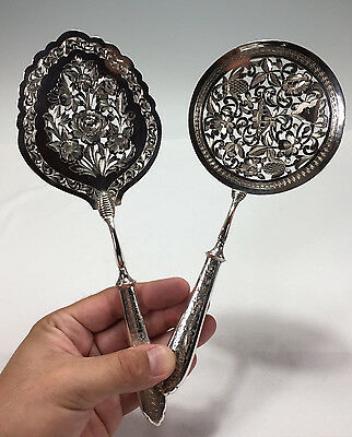 Antique Set of Two Persian Sterling Silver Bright Cut Hand Chased Serving Spoons