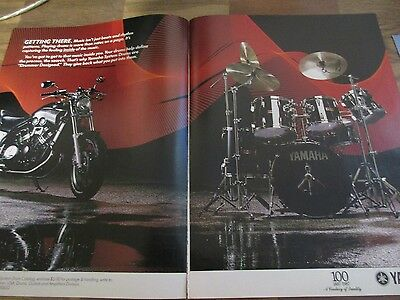Yamaha System Drums - Drummer Designed - Motorcycle - 2-Page 1987 Print Ad
