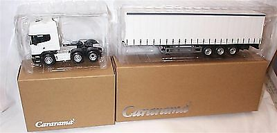 Cararama 1:50 Scania R Topline Cab & 3 Axle Curtainside Trailer White New in Box