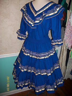 New Deadstock Never Worn Blue With Gold Trim 3 Piece Square Dancing Outfit L