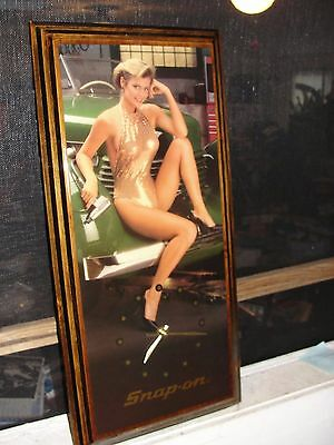 """Vintage Snap On Tools Advertising Pin-Up Girl Wall Clock ( 10.5"""" X 23 X 1) WORKS"""