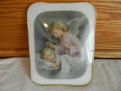 Roman Gold Framed Little Girl Angel Picture Rounded Curved Glass Made in Italy