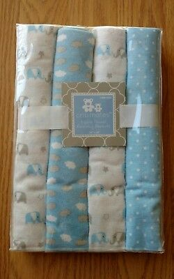 4 CRIBMATE Baby Receiving Blankets Elephants Clouds Infant Boys Blue Gray NEW
