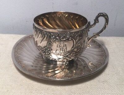 French Antique 950 Sterling Silver Ornate Cup & Saucer