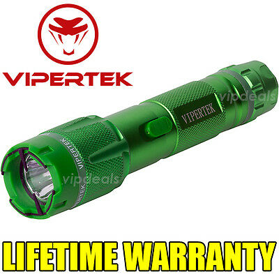 VIPERTEK VTS-T03 Metal 73 BV Stun Gun Rechargeable LED Light Taser Case Green