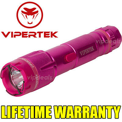 VIPERTEK VTS-T03 Metal 73 BV Stun Gun Rechargeable LED Light Taser Case Pink