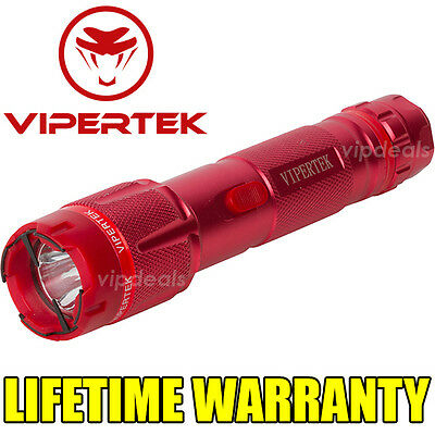 VIPERTEK VTS-T03 Metal 53 BV Stun Gun Rechargeable LED Light Taser Case Red