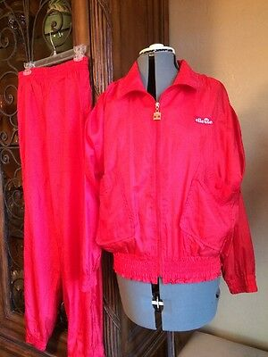 ELLESSE Vtg 80's TRACK SUIT Pants/Jacket RED NYLON Full Zip MINT 8 Top 10 Pant
