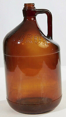 Brown Amber Antique CLOROX Smooth Glass Bottle Jug Jar Handle, Gallon