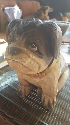 Hand Carved wooden sitting dog bulldog pug terrier  by James Haddon collections