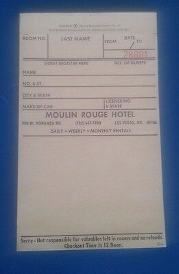-Moulin Rouge Las Vegas Casino Hotel Guest Register Check In 3 Part Ncr Form-