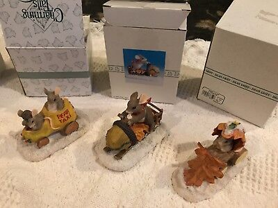 Charming Tails, Fitz And Floyd Lot Of Three Figurines (Taxi, Plow, Snow Mobile)
