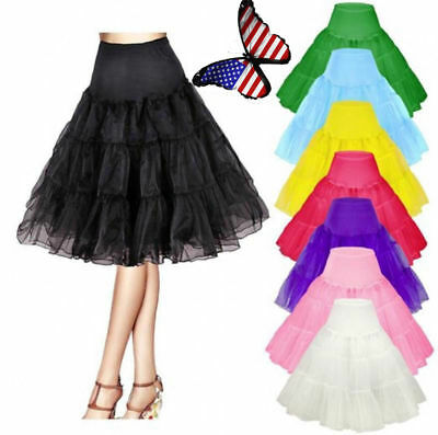 Women Retro Underskirt Petticoat Tutu Dress Crinoline Party Slips Net Skirt US