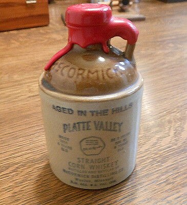 Vintage PLATTE VALLEY McCormick Straight Corn Whiskey Jug Sealed Empty Bottle