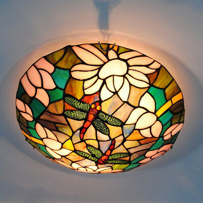 Mission Vintage Tiffany Pink Stained Glass Dragonfly Flush Mount Ceiling Lamp