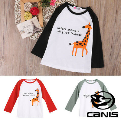 Kids Animal Top Girls Long Sleeve Tee T Shirt Stretch Fit Teen 1-6 Years