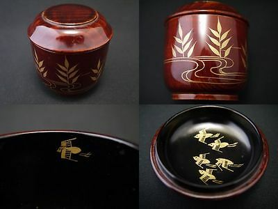 Japanese Traditional Lacquer Wooden Grained Tea Caddy TOMAYA-Natsume (707)