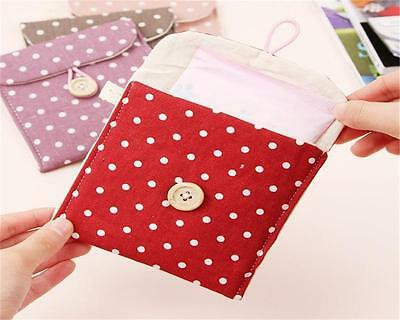Lady Linen Sanitary Napkin Towel Pad Small Mini Bags Case Pouch Holder Chic E/