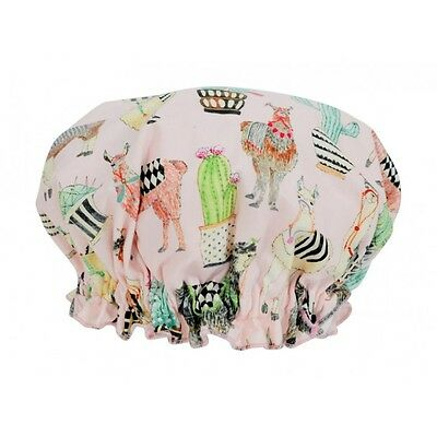 Fabric Shower Cap Womens 100% Cotton Ladies Floral Plastic Lining Llama Mothers