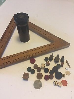 Vintage Retro Cribbage Game Triangle & Game Parts