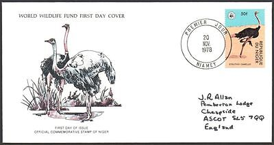 FDC -  Niger, 1978 WWF, Wildlife, The Ostrich, First Day Cover