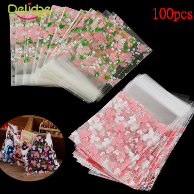 100X Self Seal Adhesive Heart Flower Plastic Cellophane Cookies Candy Gift Bag
