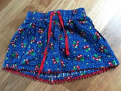 Girl's Cute Blue Floral Cotton Elasticated Waist Skirt - No Brand - Size 3 / 4