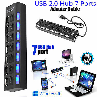 7 Ports Hub USB 2.0 For PC Laptop External Extension Adapter High Speed New UK