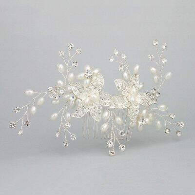 Wedding Silver Pearl Crystal Rhinestone Diamante Hair Comb Clip Bridal Headpiece