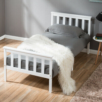 Single Bed White 3ft Solid Wooden Bed Frame Adult, Children Bed