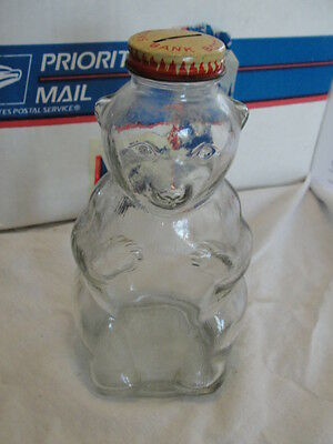 Vintage Glass Honey Bear Bottle Good Condition