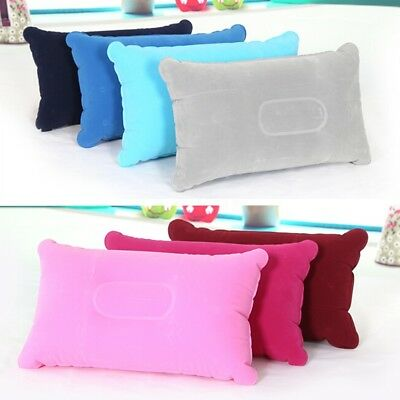 1/2Pcs Inflatable Pillow Travel Air Cushion Camping Beach Head Rest Support Car