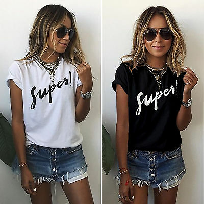 Womens Crew Neck Funny T Shirt Ladies Short Sleeve Grunge Tee Tops Summer Blouse
