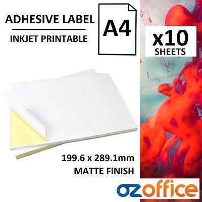 10 x A4 White Matte Self Adhesive Sticker Label Paper - Inkjet Print 199 x 289mm