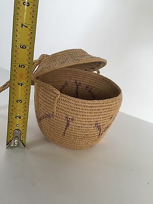 Nice Coil Basket With Top And Long Lanyard Purse Hopi Style