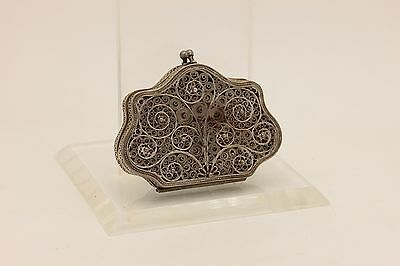 Antique Original Ottoman Silver Filigree For Lady Small Purse