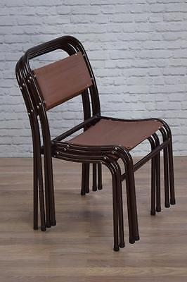 Set f 4 Vintage Industrial 'Nest-A-Bye' Stacking Cafe Bar Dining Chairs