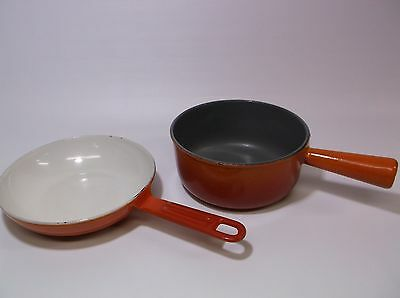 Lot of (2) Old Fashioned Enameled Cast Iron Cookware Red Orange Grey White SOLID