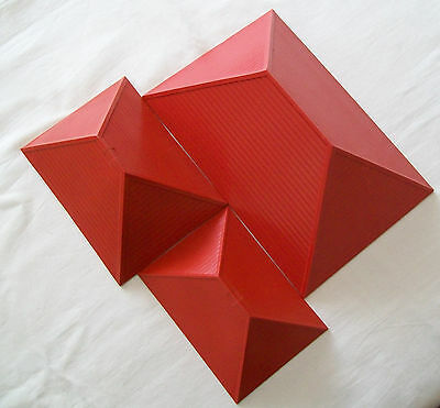 BAYKO Vintage Construction Toys RED PITCHED ROOF 1 of each LARGE, MEDIUM & SMALL