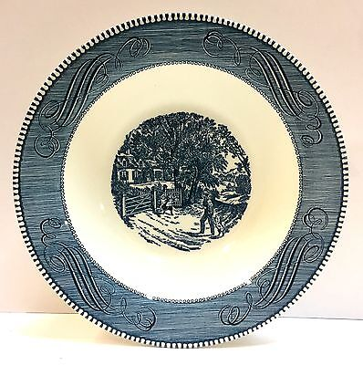 "Royal (USA) CURRIERS & IVES BLUE 10"" Round Vegetable Bowl -Nice -More Available"