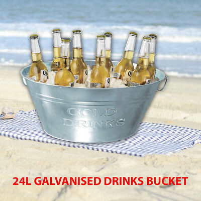 Galvanised Steel Party Picnic Tub Beverage Drink Tub Beer Bucket Organiser 24L