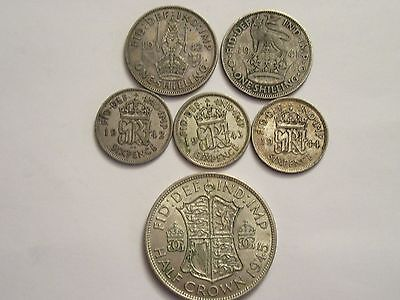 Lot of 6 Great Britain Silver coins, mixed denominations dated in the 40's