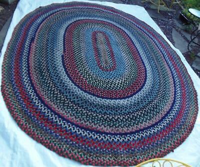 "Antique Braided Rug American Hand Made 10 ft 6"" x 8 ft 4"""