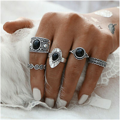 5pc Set of Antique silver rings stack with black stones vintage tribal boho