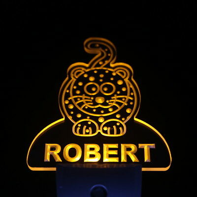 ws1002-tm Leopard Personalized Baby Name Day/ Night Sensor LED Night Light
