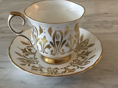 CROWN STAFFORDSHIRE BONE CHINA Gold & White CUP AND SAUCER MADE IN ENGLAND