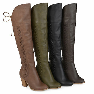 Brinley Co Womens Standard and Wide Calf Faux Leather Over the knee Boots New