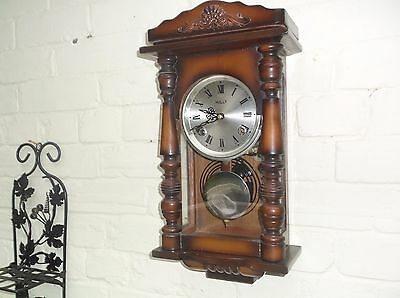 Small Beautiful Wall Clock  Mechanical (Wooden) Gongs The Hour And The Half
